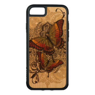 Warm Butterfly Delight on Genuine Hardwood Cherry Carved iPhone 8/7 Case