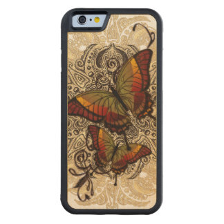 Warm Butterfly Delight on Genuine Hardwood Maple Carved Maple iPhone 6 Bumper Case