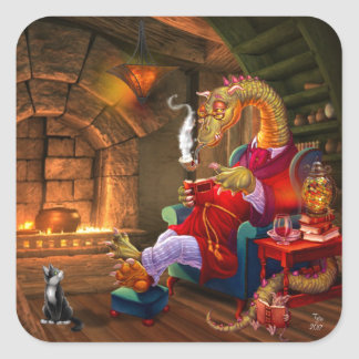 Warm By The Fire Cartoon Dragon Square Sticker