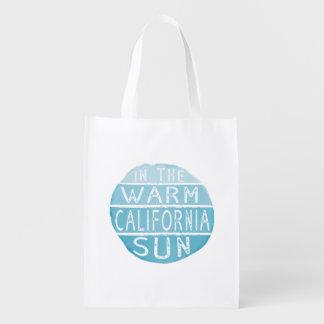 Warm California Sun Vintage Typography Blue Reusable Grocery Bag
