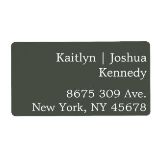 Warm Charcoal Green Elegant Minimalist Address