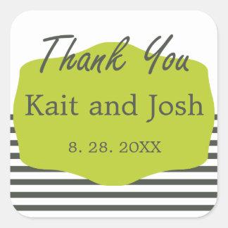 Warm Charcoal Green Elegant Minimalist Thank You Square Sticker