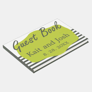 Warm Charcoal Green Elegant Minimalist Wedding Guest Book