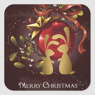 Warm Charming Bunnies n' Mistletoe Merry Christmas Square Sticker