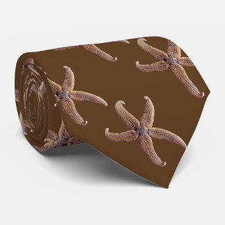 Warm Chocolate Brown Starfish Pattern Tie