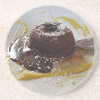 Warm chocolate fondant lava cake dessert beverage coaster