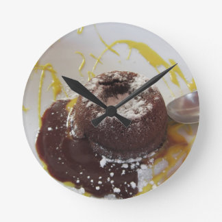 Warm chocolate fondant lava cake dessert clock
