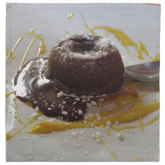 Warm chocolate fondant lava cake dessert napkin
