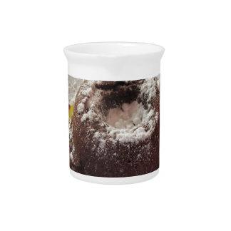 Warm chocolate fondant lava cake dessert pitcher