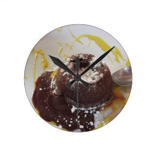 Warm chocolate fondant lava cake dessert round clock