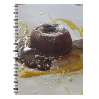 Warm chocolate fondant lava cake dessert spiral notebook