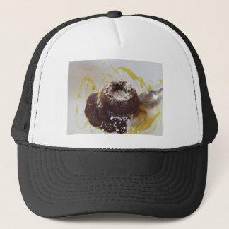 Warm chocolate fondant lava cake dessert trucker hat
