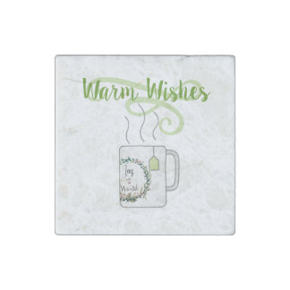 Warm Christmas Wishes, Green Tea Style Stone Magnet