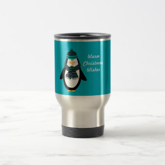 Warm Christmas Wishes Penguin Travel Mug