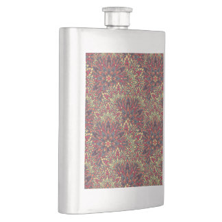 Warm color mandala pattern. hip flask