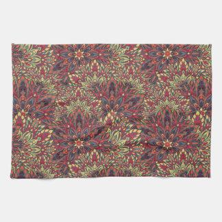 Warm color mandala pattern. tea towel