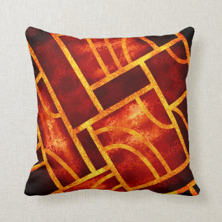 Warm-colored geometric ornament cushion