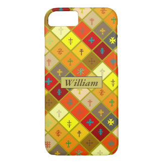 Warm Colored Plaid with mixed Crosses iPhone 7 Case