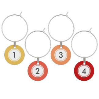 Warm Colors Custom Set of 4 Wine Charms