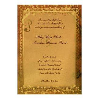 Warm Colors Music Lovers Wedding Invitation