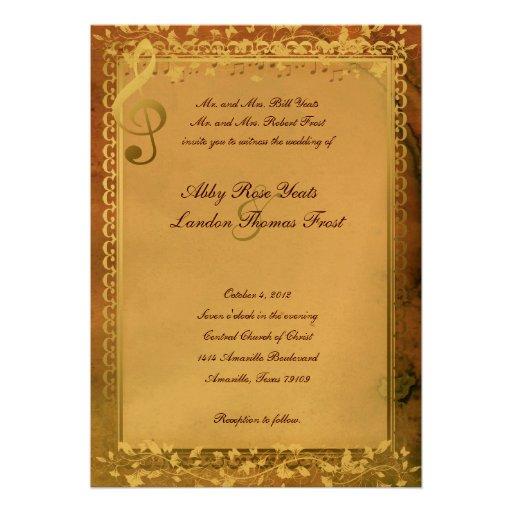 Warm Colors Music Lovers Wedding Invitation