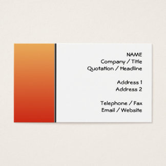 Warm colors, plain design. business card