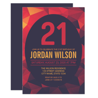 Warm Colors Polygon Modern 21st Birthday Card