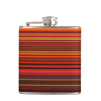 Warm Colors - Trendy Style - Stripe Pattern Hip Flask