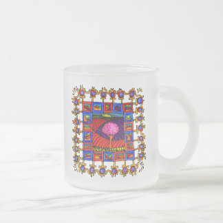 Warm coloured landschapjes with lively list! frosted glass coffee mug