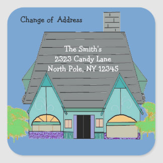 Warm Cozy House Change of Address Square Sticker