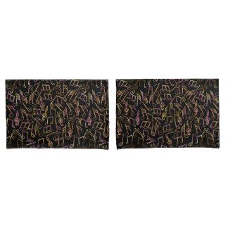 Warm Dark Music Note Pillowcase Set