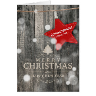 Warm Dark Wood Business Christmas Card