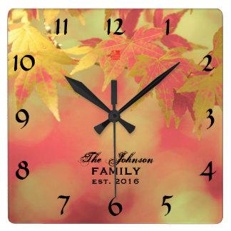 Warm Decorative Autumn Maple Personalized Family Wallclocks
