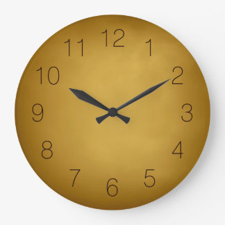 Warm Earth Colors Gold Yellow Ocher Rich Red Brown Large Clock