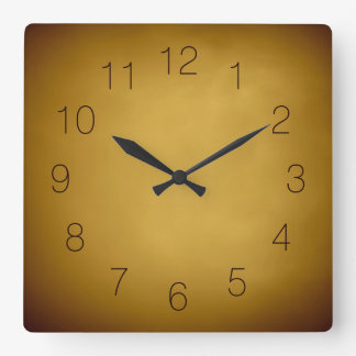 Warm Earth Colours Gold Yellow Ochre Rich Red Square Wall Clock