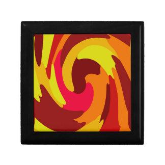 Warm Fall Colored Camo Swirl Design Small Square Gift Box