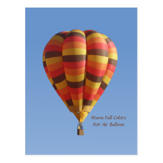 Warm Fall Colors Hot Air Balloon Postcard