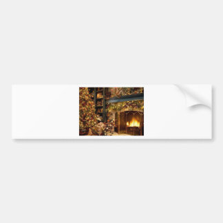 Warm Fireplace By The Christmas Tree Bumper Sticker