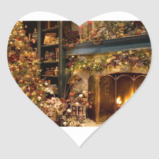 Warm Fireplace By The Christmas Tree Heart Sticker