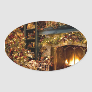 Warm Fireplace By The Christmas Tree Oval Sticker