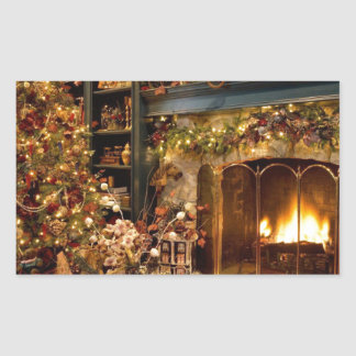 Warm Fireplace By The Christmas Tree Rectangular Sticker