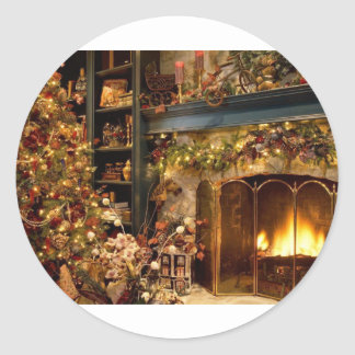 Warm Fireplace By The Christmas Tree Round Sticker