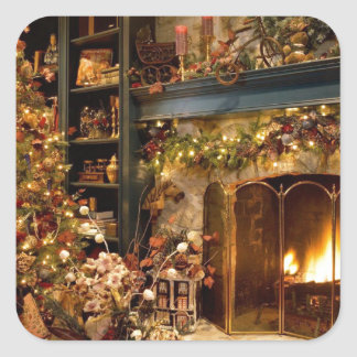 Warm Fireplace By The Christmas Tree Square Sticker
