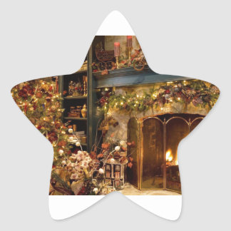 Warm Fireplace By The Christmas Tree Star Sticker