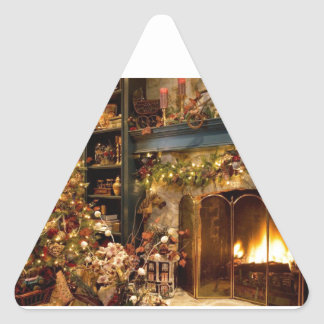 Warm Fireplace By The Christmas Tree Triangle Sticker