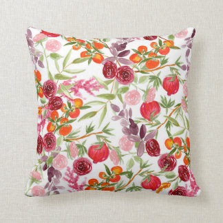 Warm Floral Watercolor Pattern Pillow