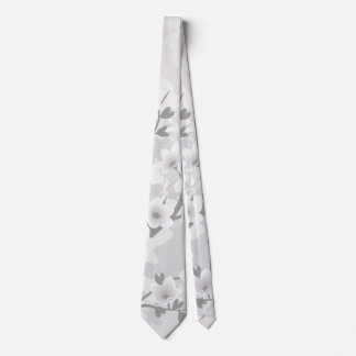 Warm Gray Cherry Blossoms Tie