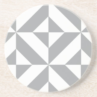 Warm Gray Geometric Deco Cube Pattern Beverage Coasters