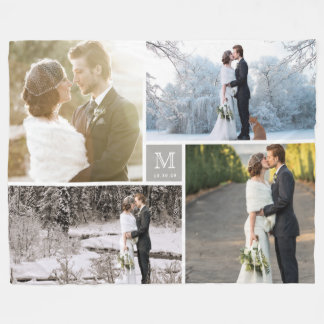 Warm Grey Modern Monogram 4 Photo Collage Wedding Fleece Blanket