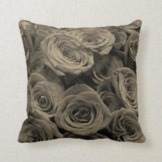 Warm Grey Roses Cushion